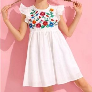 Ruffle Embroidery Floral Dress